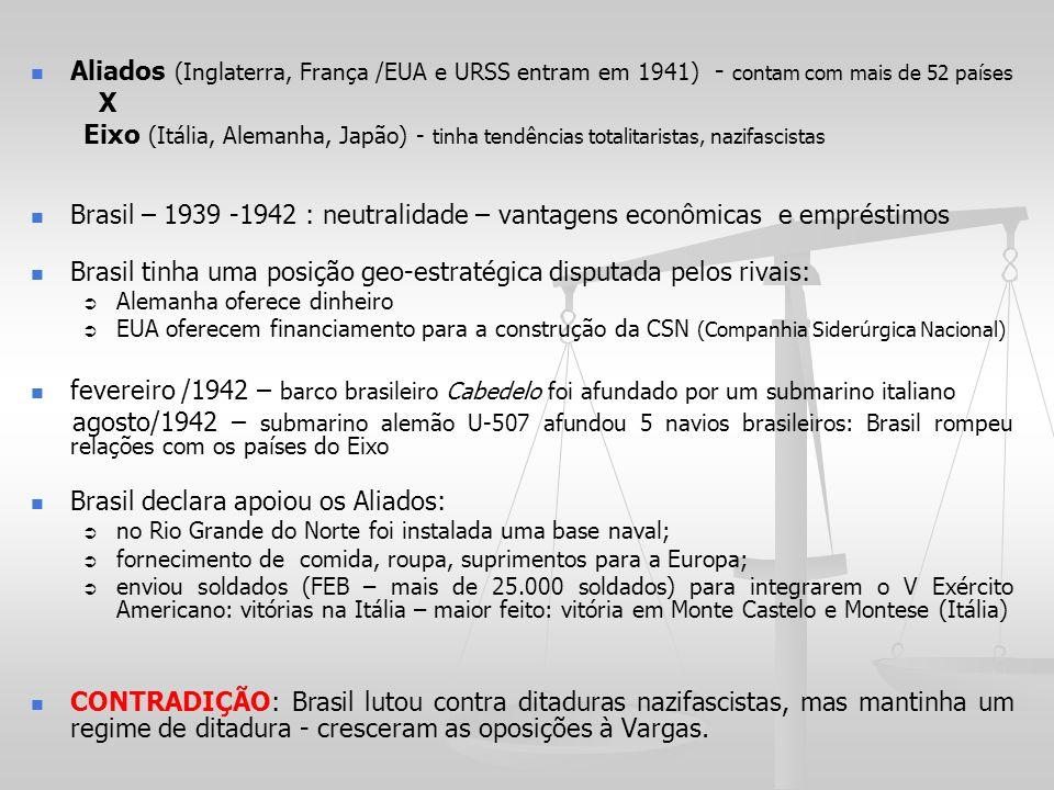 Aliados (Inglaterra, França /EUA e URSS entram em 1941) - contam com mais de 52 países X Eixo (Itália, Alemanha, Japão) - tinha tendências totalitaris
