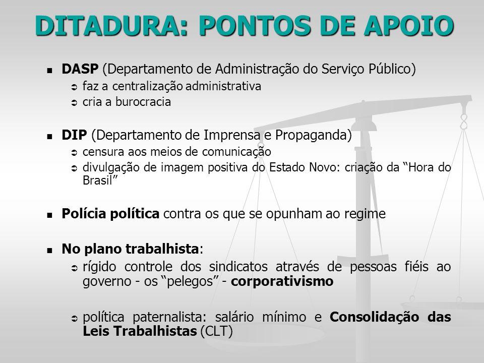 DASP (Departamento de Administração do Serviço Público) faz a centralização administrativa cria a burocracia DIP (Departamento de Imprensa e Propagand