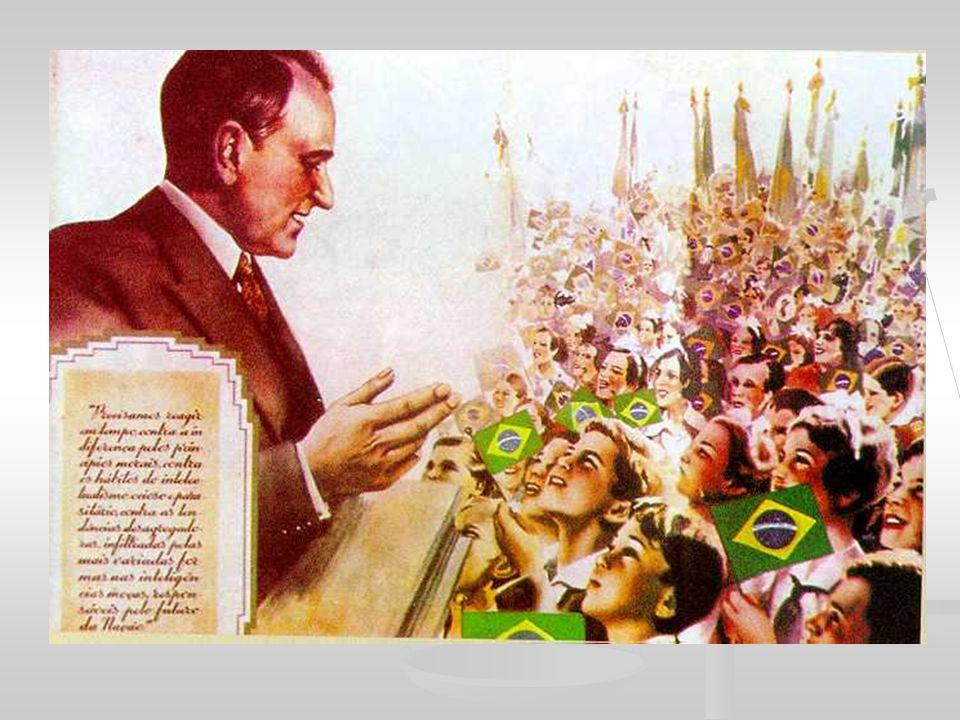 Aliados (Inglaterra, França /EUA e URSS entram em 1941) - contam com mais de 52 países X Eixo (Itália, Alemanha, Japão) - tinha tendências totalitaristas, nazifascistas Brasil – 1939 -1942 : neutralidade – vantagens econômicas e empréstimos Brasil tinha uma posição geo-estratégica disputada pelos rivais: Alemanha oferece dinheiro EUA oferecem financiamento para a construção da CSN (Companhia Siderúrgica Nacional) fevereiro /1942 – barco brasileiro Cabedelo foi afundado por um submarino italiano agosto/1942 – submarino alemão U-507 afundou 5 navios brasileiros: Brasil rompeu relações com os países do Eixo Brasil declara apoiou os Aliados: no Rio Grande do Norte foi instalada uma base naval; fornecimento de comida, roupa, suprimentos para a Europa; enviou soldados (FEB – mais de 25.000 soldados) para integrarem o V Exército Americano: vitórias na Itália – maior feito: vitória em Monte Castelo e Montese (Itália) CONTRADIÇÃO: Brasil lutou contra ditaduras nazifascistas, mas mantinha um regime de ditadura - cresceram as oposições à Vargas.