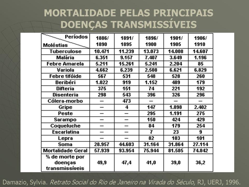 MORTALIDADE PELAS PRINCIPAIS DOENÇAS TRANSMISSÍVEIS Damazio, Sylvia. Retrato Social do Rio de Janeiro na Virada do Século, RJ, UERJ, 1996.