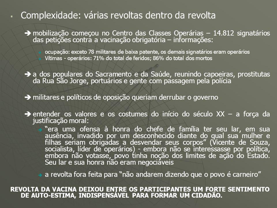 Complexidade: várias revoltas dentro da revolta mobilização começou no Centro das Classes Operárias – 14.812 signatários das petições contra a vacinaç