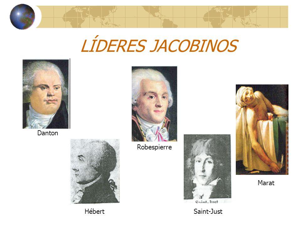 LÍDERES JACOBINOS Danton Robespierre Marat HébertSaint-Just
