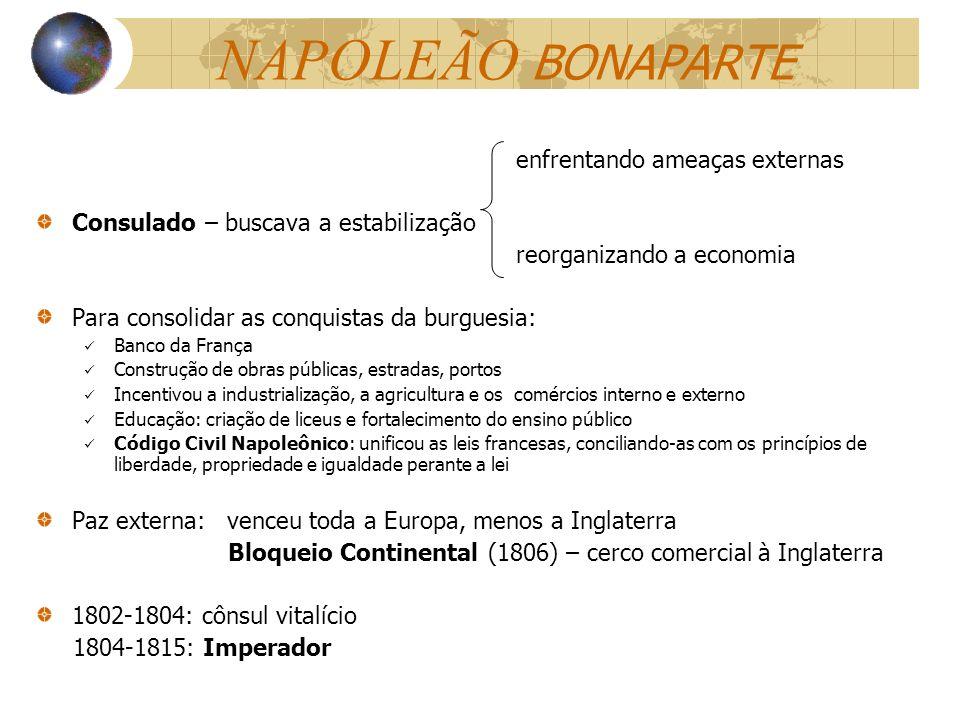 NAPOLEÃO BONAPARTE enfrentando ameaças externas Consulado – buscava a estabilização reorganizando a economia Para consolidar as conquistas da burguesi