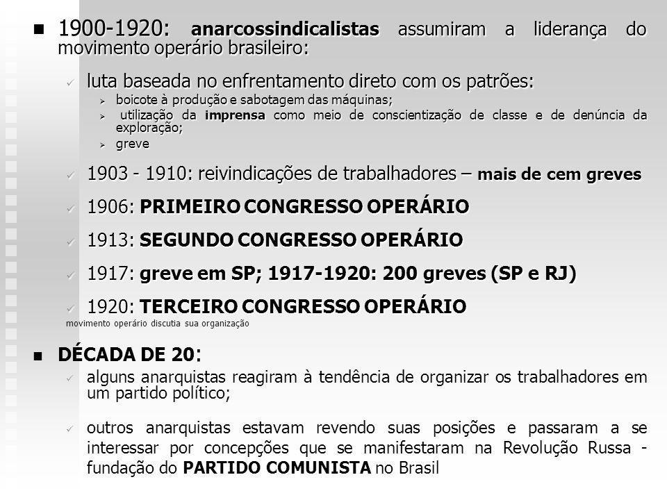 1900-1920: anarcossindicalistas assumiram a liderança do movimento operário brasileiro: 1900-1920: anarcossindicalistas assumiram a liderança do movim
