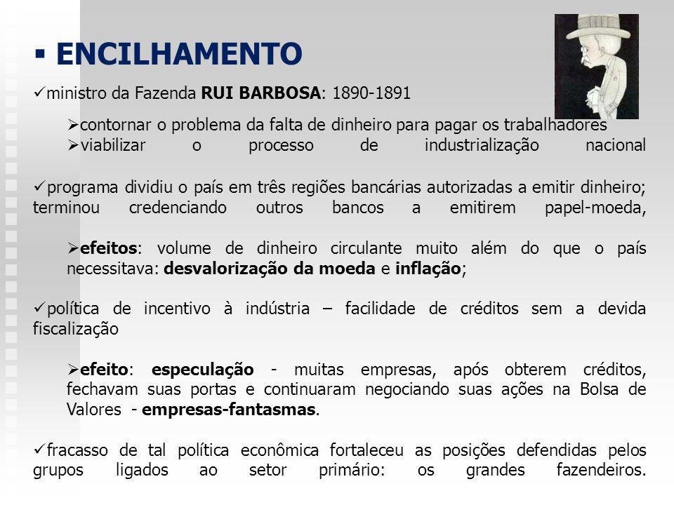 FUNDING-LOAN (empréstimo consolidado) - CAMPOS SALES - 1898 ( SOLUÇÃO PARA A CRISE CAUSADA PELO ENCILHAMENTO ) junto aos credores Rothschild (Inglaterra): 10 milhões de libras esterlinas; suspensão do pagamento da dívida externa por 13 anos; rendas da alfândega do Rio de Janeiro serviriam de garantia aos banqueiros internacionais; novos compromissos financeiros internos ou externos ficavam suspensos até 1901 retirada do papel-moeda do mercado equivalente aos títulos do empréstimo; plano interno: compromisso de combater a inflação, valorização da moeda, redução das despesas, aumento de impostos.