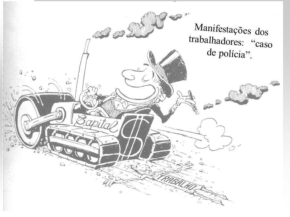 1900-1920: anarcossindicalistas assumiram a liderança do movimento operário brasileiro: 1900-1920: anarcossindicalistas assumiram a liderança do movimento operário brasileiro: luta baseada no enfrentamento direto com os patrões: luta baseada no enfrentamento direto com os patrões: boicote à produção e sabotagem das máquinas; boicote à produção e sabotagem das máquinas; utilização da imprensa como meio de conscientização de classe e de denúncia da exploração; utilização da imprensa como meio de conscientização de classe e de denúncia da exploração; greve greve 1903 - 1910: reivindicações de trabalhadores – mais de cem greves 1903 - 1910: reivindicações de trabalhadores – mais de cem greves 1906: PRIMEIRO CONGRESSO OPERÁRIO 1906: PRIMEIRO CONGRESSO OPERÁRIO 1913: SEGUNDO CONGRESSO OPERÁRIO 1913: SEGUNDO CONGRESSO OPERÁRIO 1917: greve em SP; 1917-1920: 200 greves (SP e RJ) 1917: greve em SP; 1917-1920: 200 greves (SP e RJ) 1920: TERCEIRO CONGRESSO OPERÁRIO 1920: TERCEIRO CONGRESSO OPERÁRIO movimento operário discutia sua organização DÉCADA DE 20 : alguns anarquistas reagiram à tendência de organizar os trabalhadores em um partido político; outros anarquistas estavam revendo suas posições e passaram a se interessar por concepções que se manifestaram na Revolução Russa - fundação do PARTIDO COMUNISTA no Brasil