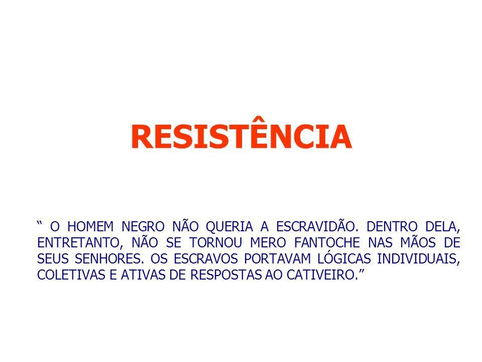 RESISTÊNCIA O HOMEM NEGRO NÃO QUERIA A ESCRAVIDÃO.