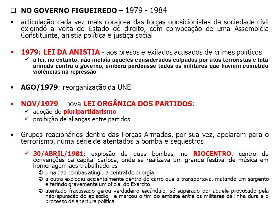 NO GOVERNO FIGUEIREDO – 1979 - 1984 articulação cada vez mais corajosa das forças oposicionistas da sociedade civil exigindo a volta do Estado de dire