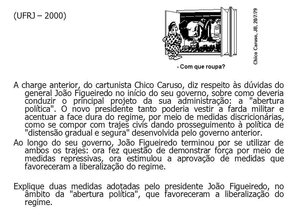 (UFRJ – 2000) A charge anterior, do cartunista Chico Caruso, diz respeito às dúvidas do general João Figueiredo no início do seu governo, sobre como d