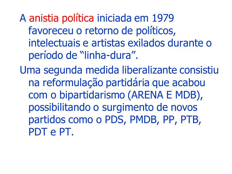 CAMPANHA DAS DIRETAS-JÁ após as eleições de 1982, começaram as articulações políticas em torno da sucessão presidencial: indiretas em novembro/1984 o crescimento eleitoral da oposição desde 1974 e o fortalecimento dos movimentos populares (em especial, o sindical) criaram condições para o surgimento de uma forte campanha em defesa da volta das eleições diretas pressionar o Congresso Nacional a aprovar a emenda Dante de Oliveira: presidente deveria ser eleito pelo voto popular: –27/NOV/1983: 10 mil pessoas no Pacaembu –25/JAN/1984: 100 mil pessoas na Praça da Sé –10/ABR/1984: 1 milhão de pessoas no centro do Rio de Janeiro –15/ABR/1984: 1,7 milhões na praça da Sé 25/ABR/1984: data da votação da emenda Dante de Oliveira: –298 deputados a favor –65 deputados contra faltaram 22 votos favoráveis para completar –3 abstenções os 2/3 necessários para a aprovação –112 deputados não compareceram