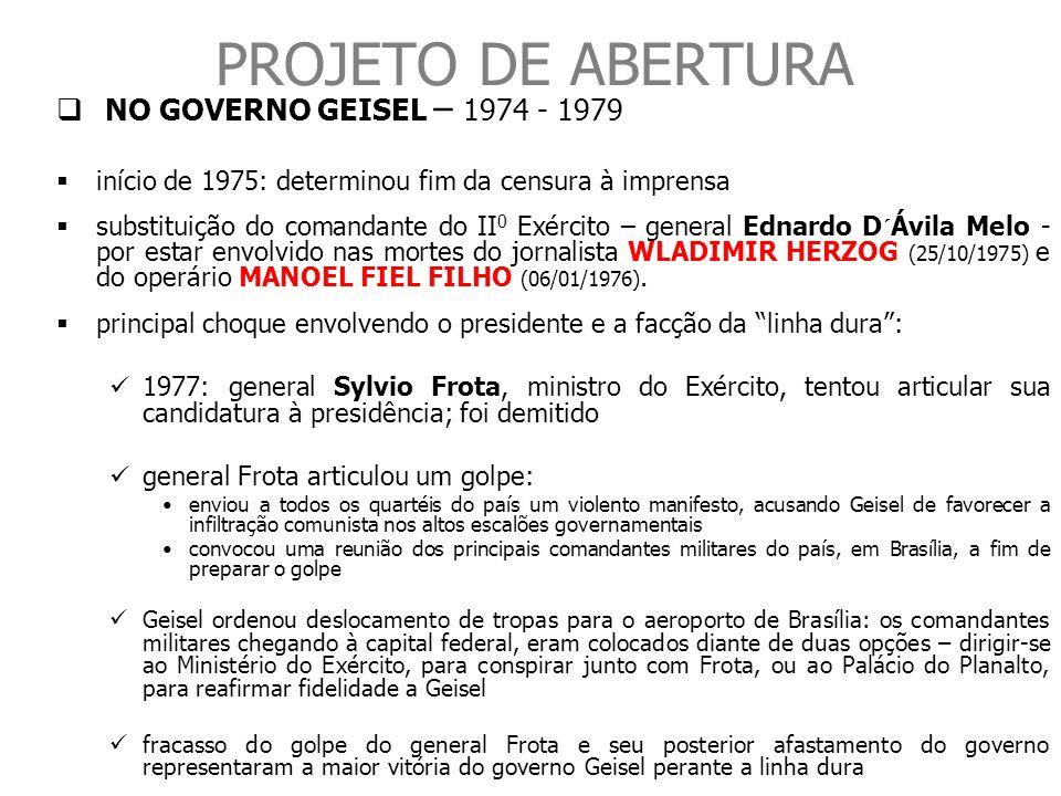 PROJETO DE ABERTURA NO GOVERNO GEISEL – 1974 - 1979 início de 1975: determinou fim da censura à imprensa substituição do comandante do II 0 Exército –