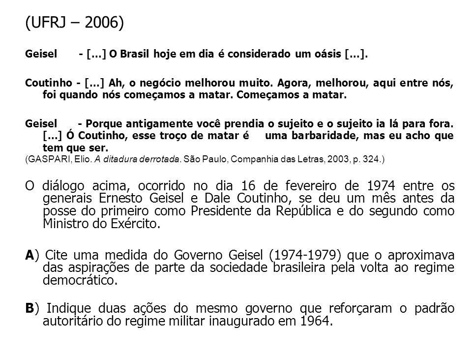 (UFRJ – 2006) Geisel - [...] O Brasil hoje em dia é considerado um oásis [...]. Coutinho - [...] Ah, o negócio melhorou muito. Agora, melhorou, aqui e