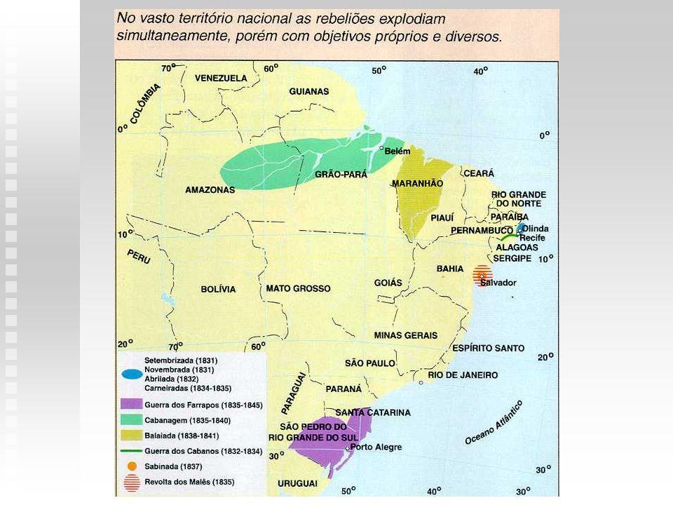 REVOLTADURAÇÃOCONTEXTODESENVOLVIMENTO CABANAGEM (PARÁ) 1834-1840 província do Grão-Pará: território que abrangia o atual Pará e a maior parte da Amazônia população composta de índios, negros e mestiços que vivia em pequenos povoados nas margens dos rios; trabalhava na extração das drogas do sertão ou na salga dos peixes fazendeiros do Pará em constantes choques com o governo provincial: início, apoio aos cabanos objetivos dos cabanos: acabar com a escravidão, distribuir terras e matar exploradores; líderes populares: pe.