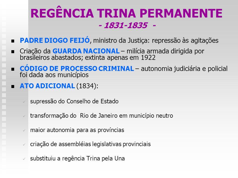 REGÊNCIA TRINA PERMANENTE - 1831-1835 - PADRE DIOGO FEIJÓ, ministro da Justiça: repressão às agitações Criação da GUARDA NACIONAL – milícia armada dir