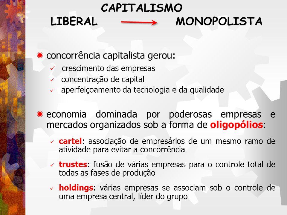 CAPITALISMO LIBERAL MONOPOLISTA concorrência capitalista gerou: crescimento das empresas concentração de capital aperfeiçoamento da tecnologia e da qu