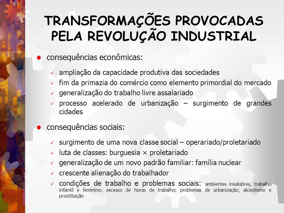 TRANSFORMAÇÕES PROVOCADAS PELA REVOLUÇÃO INDUSTRIAL consequências econômicas: ampliação da capacidade produtiva das sociedades fim da primazia do comé