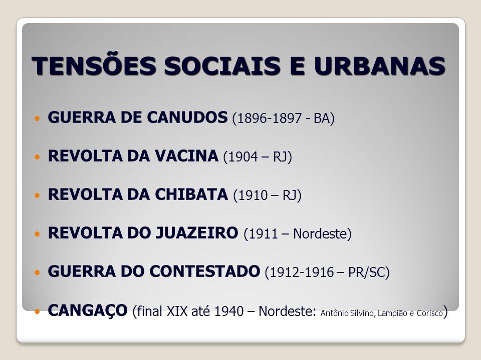 TENSÕES SOCIAIS E URBANAS GUERRA DE CANUDOS (1896-1897 - BA) REVOLTA DA VACINA (1904 – RJ) REVOLTA DA CHIBATA (1910 – RJ) REVOLTA DO JUAZEIRO (1911 –