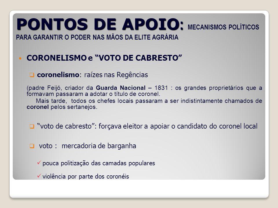 PONTOS DE APOIO : PONTOS DE APOIO : MECANISMOS POLÍTICOS PARA GARANTIR O PODER NAS MÃOS DA ELITE AGRÁRIA CORONELISMO e VOTO DE CABRESTO coronelismo: r