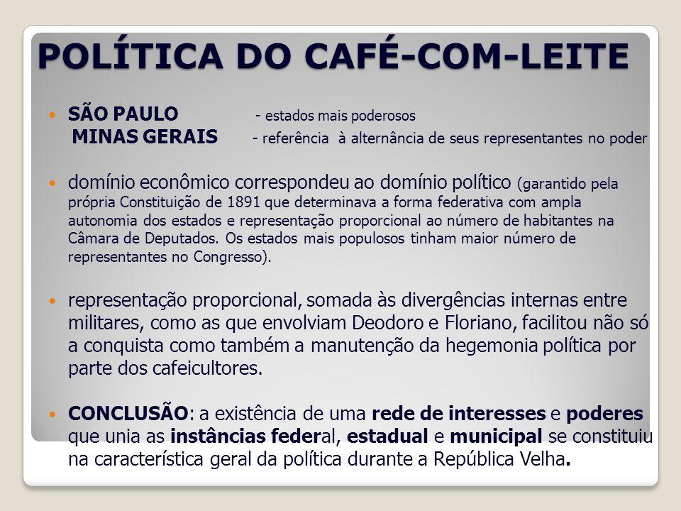 POLÍTICA DO CAFÉ-COM-LEITE SÃO PAULO - estados mais poderosos MINAS GERAIS - referência à alternância de seus representantes no poder domínio econômic