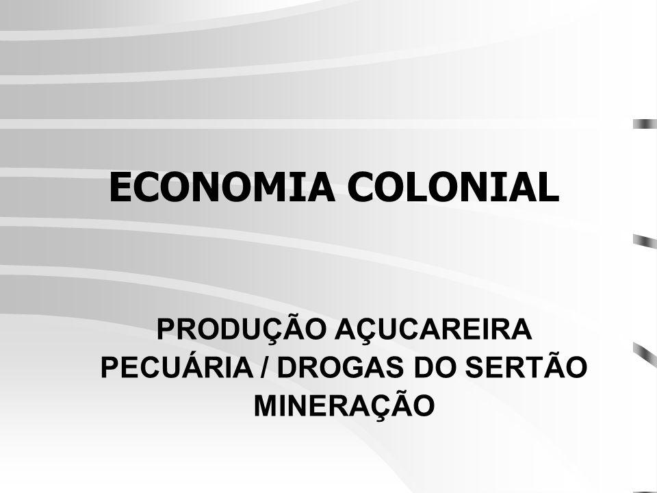 ECONOMIA COLONIAL PRODUÇÃO AÇUCAREIRA PECUÁRIA / DROGAS DO SERTÃO MINERAÇÃO