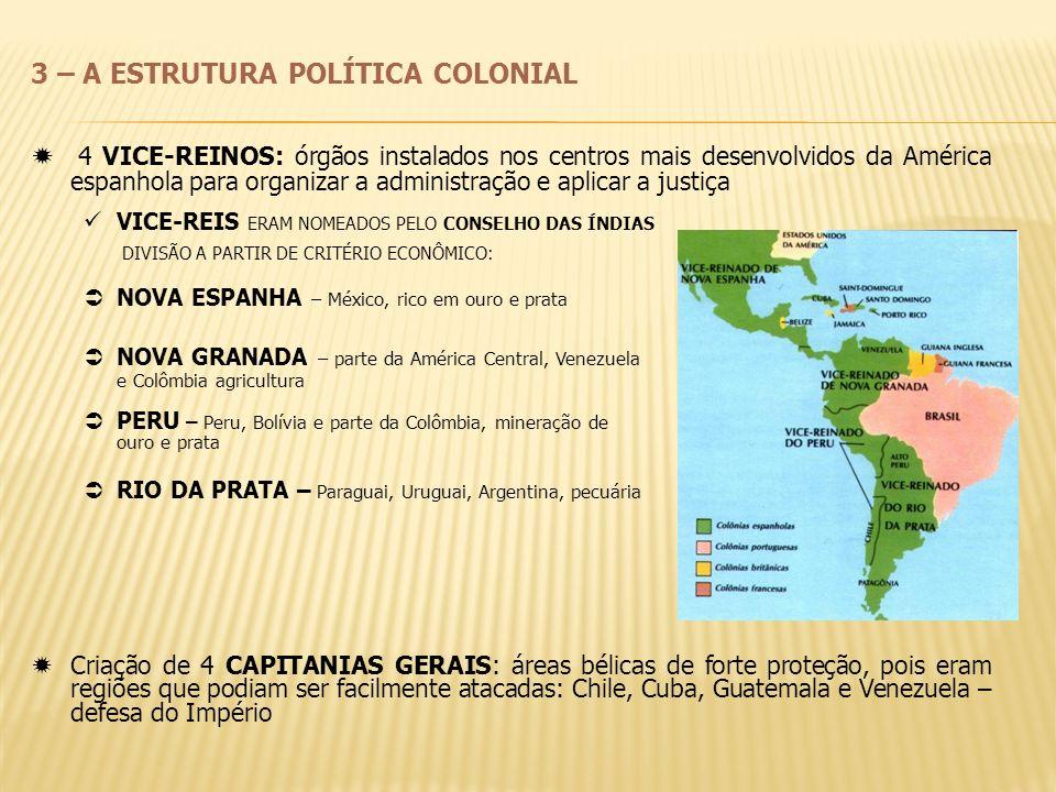 3 – A ESTRUTURA POLÍTICA COLONIAL 4 VICE-REINOS: órgãos instalados nos centros mais desenvolvidos da América espanhola para organizar a administração