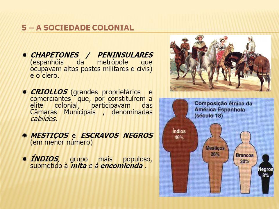5 – A SOCIEDADE COLONIAL CHAPETONES / PENINSULARES (espanhóis da metrópole que ocupavam altos postos militares e civis) e o clero. CRIOLLOS (grandes p