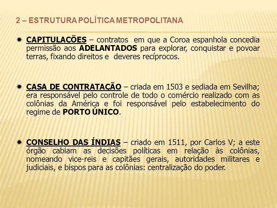 2 – ESTRUTURA POLÍTICA METROPOLITANA CAPITULAÇÕES – contratos em que a Coroa espanhola concedia permissão aos ADELANTADOS para explorar, conquistar e