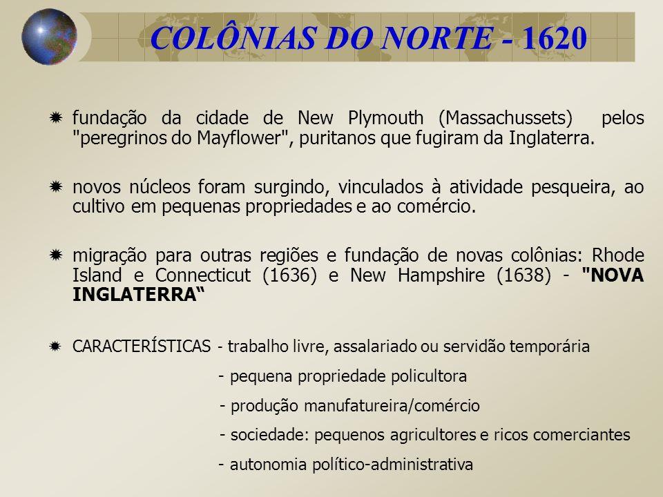 COLÔNIAS DO NORTE - 1620 fundação da cidade de New Plymouth (Massachussets) pelos
