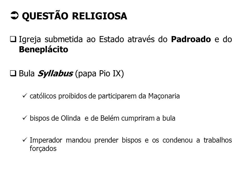 QUESTÃO RELIGIOSA Igreja submetida ao Estado através do Padroado e do Beneplácito Bula Syllabus (papa Pio IX) católicos proibidos de participarem da M