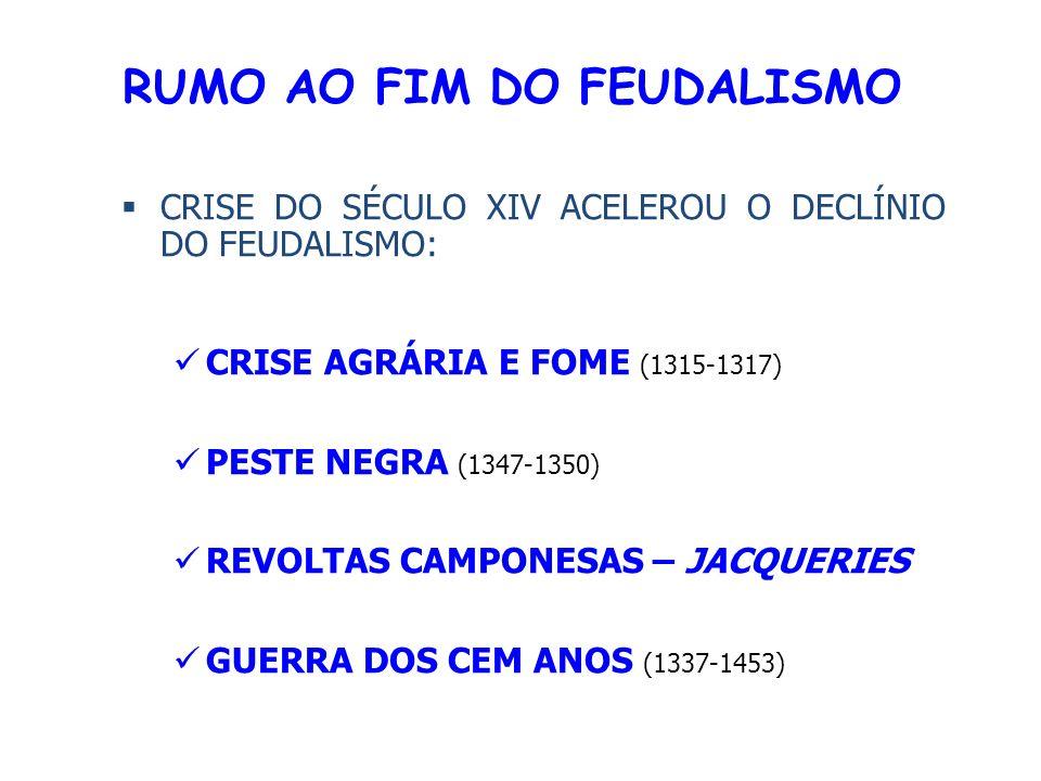 RUMO AO FIM DO FEUDALISMO CRISE DO SÉCULO XIV ACELEROU O DECLÍNIO DO FEUDALISMO: CRISE AGRÁRIA E FOME (1315-1317) PESTE NEGRA (1347-1350) REVOLTAS CAMPONESAS – JACQUERIES GUERRA DOS CEM ANOS (1337-1453)