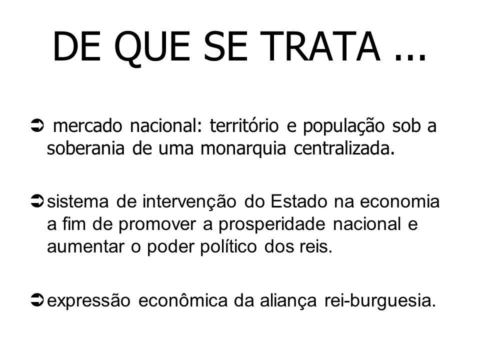 DE QUE SE TRATA... mercado nacional: território e população sob a soberania de uma monarquia centralizada. sistema de intervenção do Estado na economi