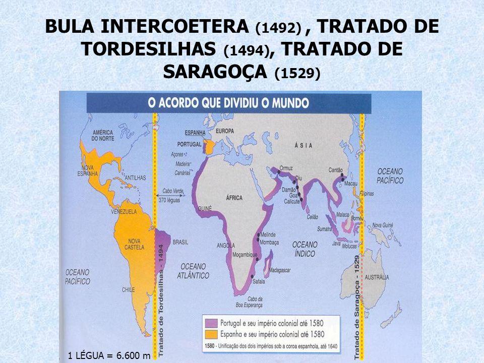 BULA INTERCOETERA (1492), TRATADO DE TORDESILHAS (1494), TRATADO DE SARAGOÇA (1529) 1 LÉGUA = 6.600 m