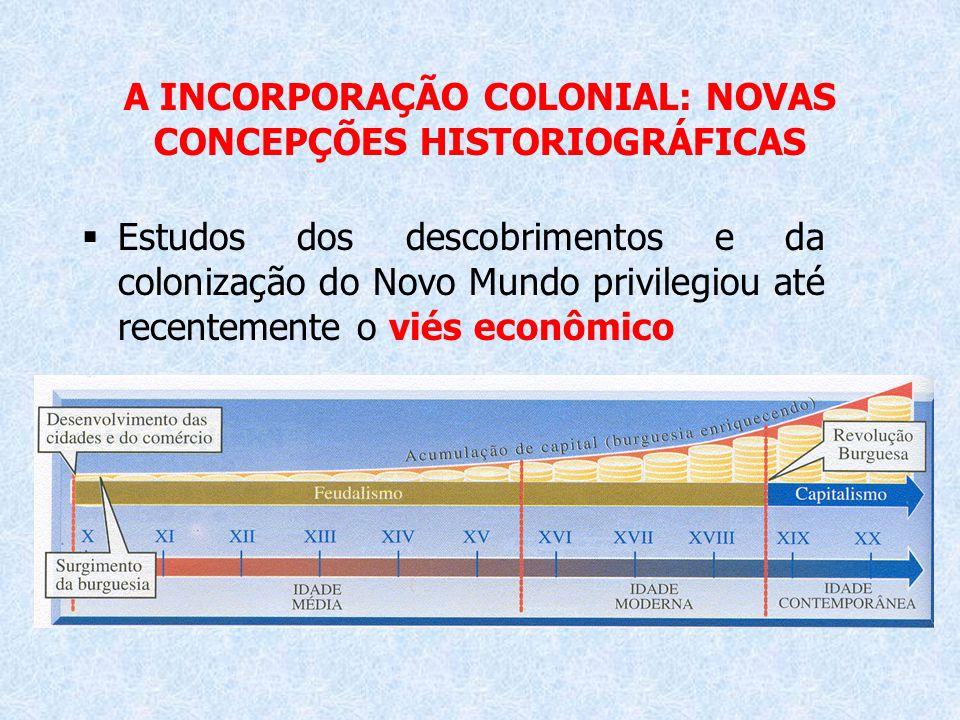 A INCORPORAÇÃO COLONIAL: NOVAS CONCEPÇÕES HISTORIOGRÁFICAS Estudos dos descobrimentos e da colonização do Novo Mundo privilegiou até recentemente o vi