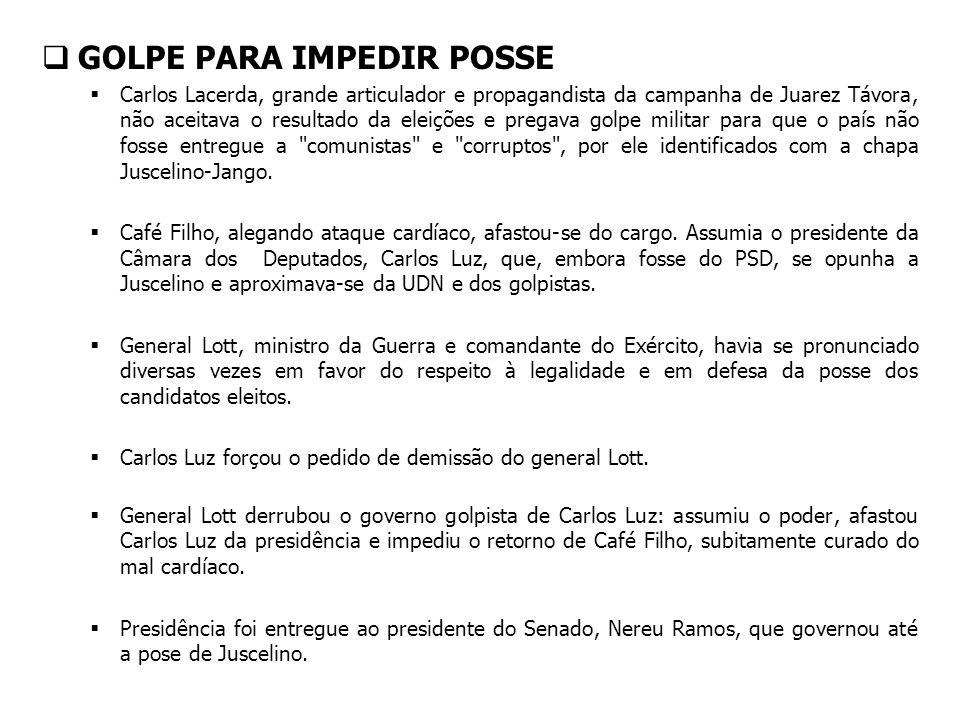 GOLPE PARA IMPEDIR POSSE Carlos Lacerda, grande articulador e propagandista da campanha de Juarez Távora, não aceitava o resultado da eleições e prega