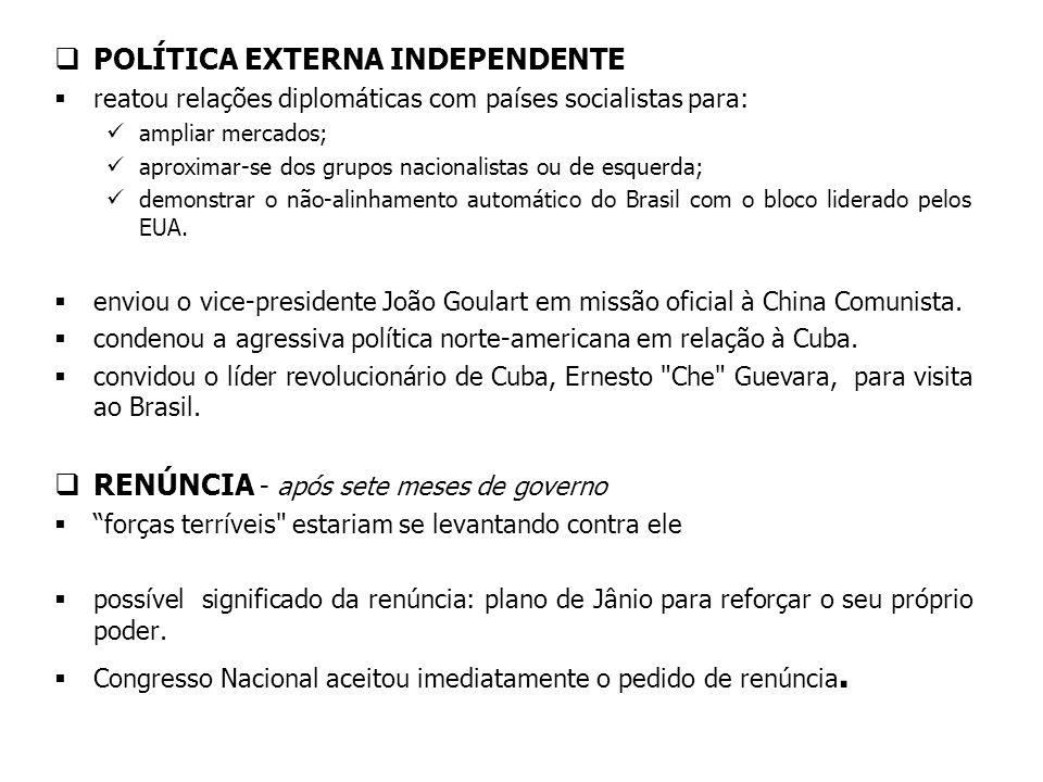 POLÍTICA EXTERNA INDEPENDENTE reatou relações diplomáticas com países socialistas para: ampliar mercados; aproximar-se dos grupos nacionalistas ou de esquerda; demonstrar o não-alinhamento automático do Brasil com o bloco liderado pelos EUA.