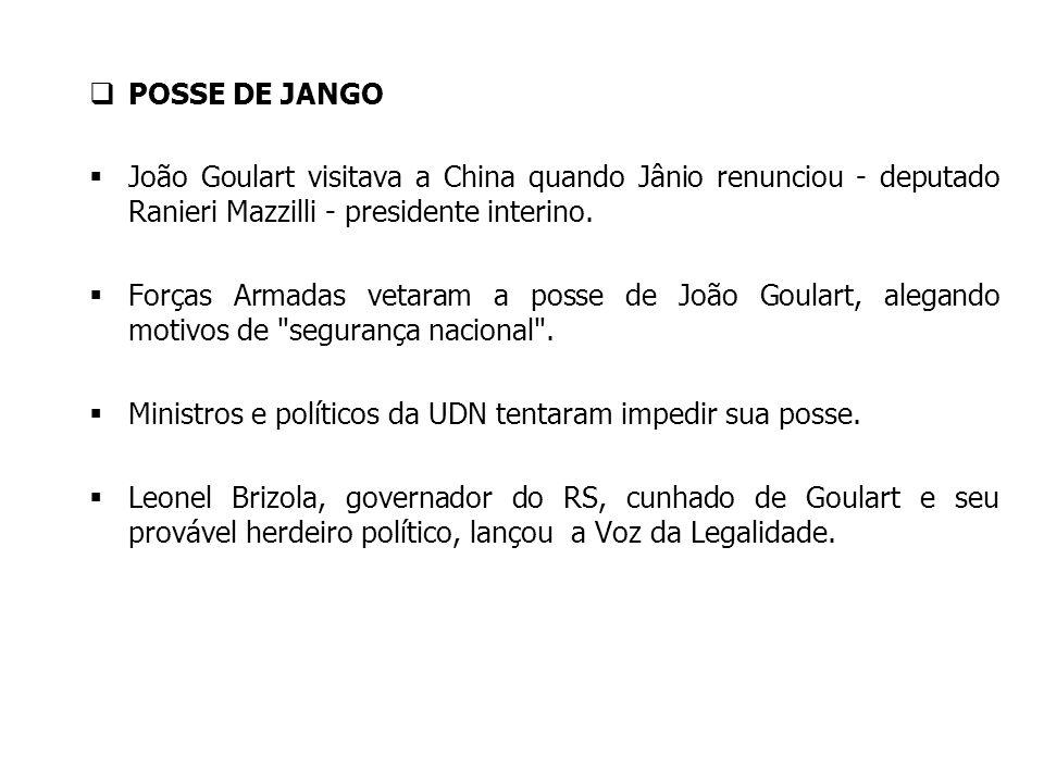 POSSE DE JANGO João Goulart visitava a China quando Jânio renunciou - deputado Ranieri Mazzilli - presidente interino. Forças Armadas vetaram a posse