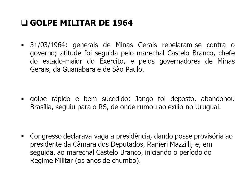 GOLPE MILITAR DE 1964 31/03/1964: generais de Minas Gerais rebelaram-se contra o governo; atitude foi seguida pelo marechal Castelo Branco, chefe do e