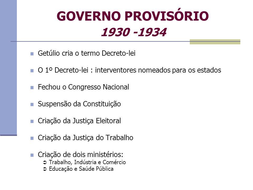 GOVERNO PROVISÓRIO 1930 -1934 Getúlio cria o termo Decreto-lei O 1º Decreto-lei : interventores nomeados para os estados Fechou o Congresso Nacional S