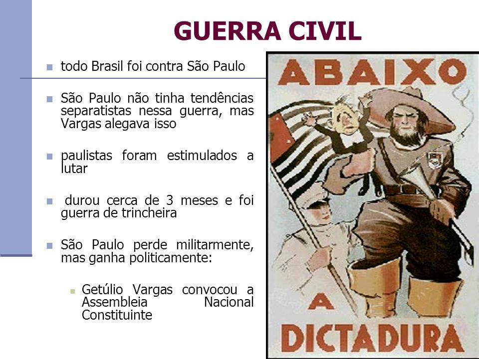 GUERRA CIVIL todo Brasil foi contra São Paulo São Paulo não tinha tendências separatistas nessa guerra, mas Vargas alegava isso paulistas foram estimu