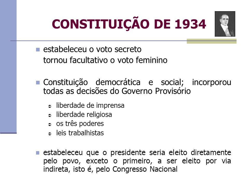 CONSTITUIÇÃO DE 1934 estabeleceu o voto secreto tornou facultativo o voto feminino Constituição democrática e social; incorporou todas as decisões do