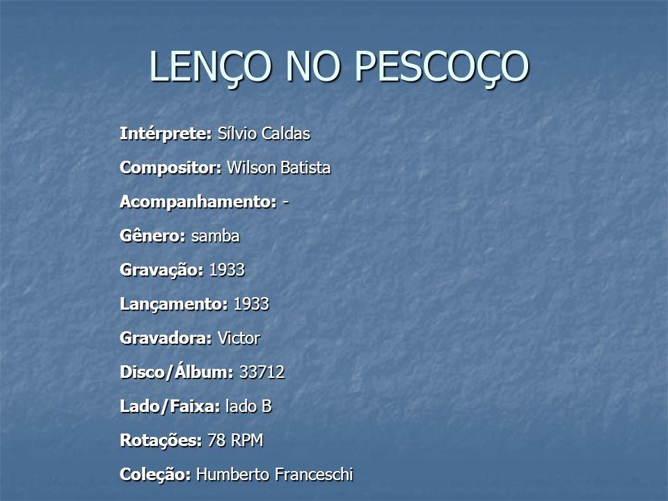 Letra de samba de Wilson Batista, 1933.