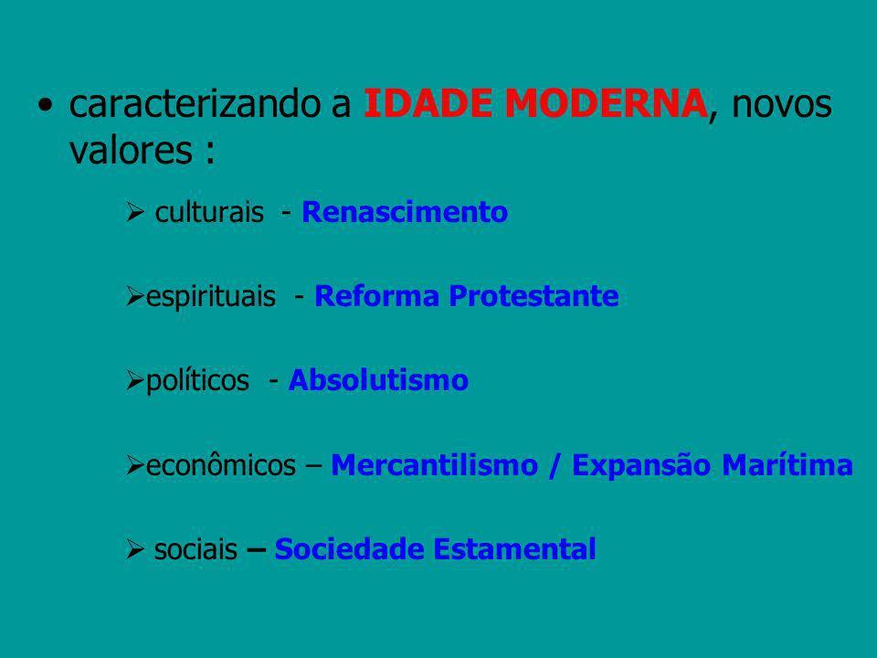 caracterizando a IDADE MODERNA, novos valores : culturais - Renascimento espirituais - Reforma Protestante políticos - Absolutismo econômicos – Mercan