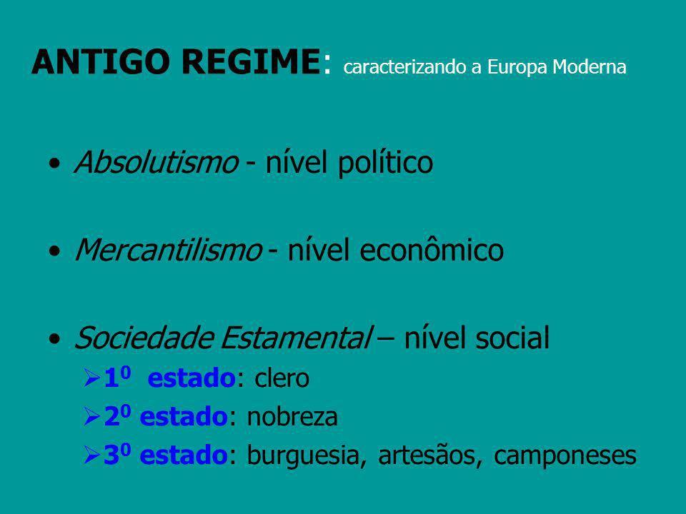 ANTIGO REGIME: caracterizando a Europa Moderna Absolutismo - nível político Mercantilismo - nível econômico Sociedade Estamental – nível social 1 0 es