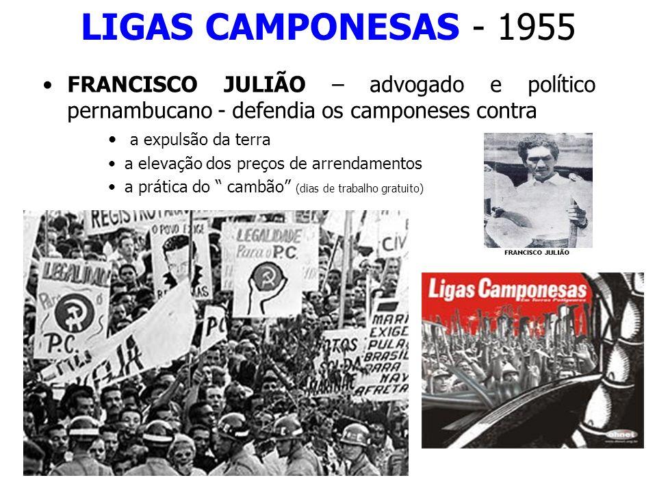 LIGAS CAMPONESAS - 1955 FRANCISCO JULIÃO – advogado e político pernambucano - defendia os camponeses contra a expulsão da terra a elevação dos preços