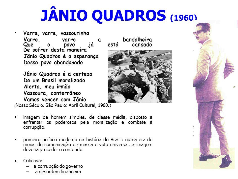 JÂNIO QUADROS (1960) Varre, varre, vassourinha Varre, varre a bandalheira Que o povo já está cansado De sofrer desta maneira Jânio Quadros é a esperan