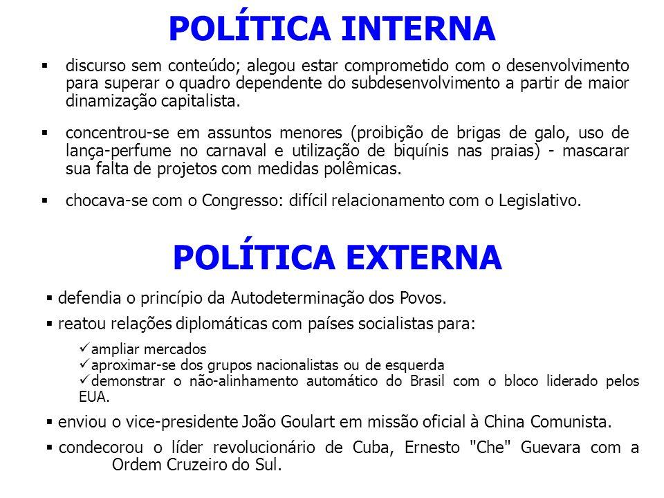 POLÍTICA INTERNA discurso sem conteúdo; alegou estar comprometido com o desenvolvimento para superar o quadro dependente do subdesenvolvimento a parti