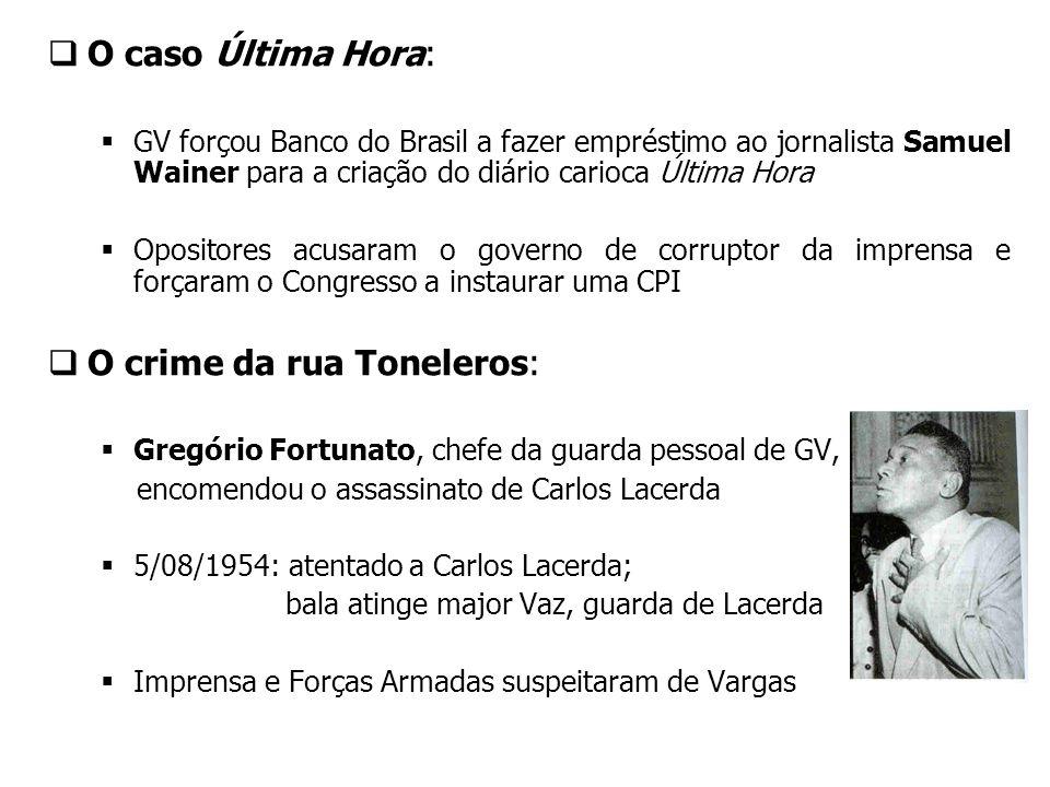 O caso Última Hora: GV forçou Banco do Brasil a fazer empréstimo ao jornalista Samuel Wainer para a criação do diário carioca Última Hora Opositores a