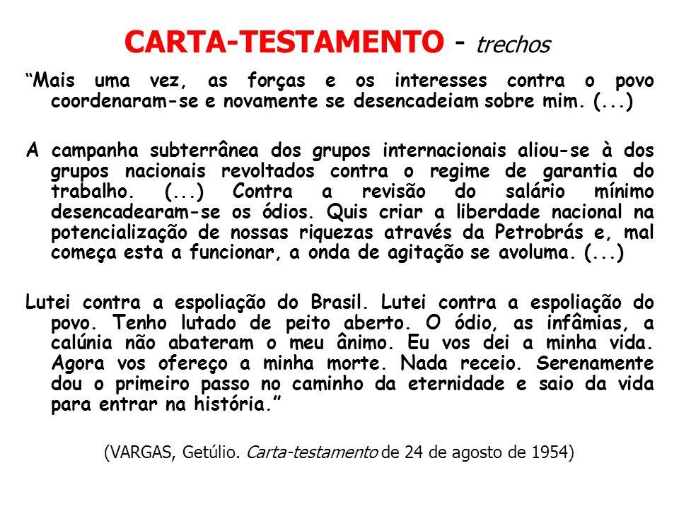 CARTA-TESTAMENTO - trechos Mais uma vez, as forças e os interesses contra o povo coordenaram-se e novamente se desencadeiam sobre mim. (...) A campanh