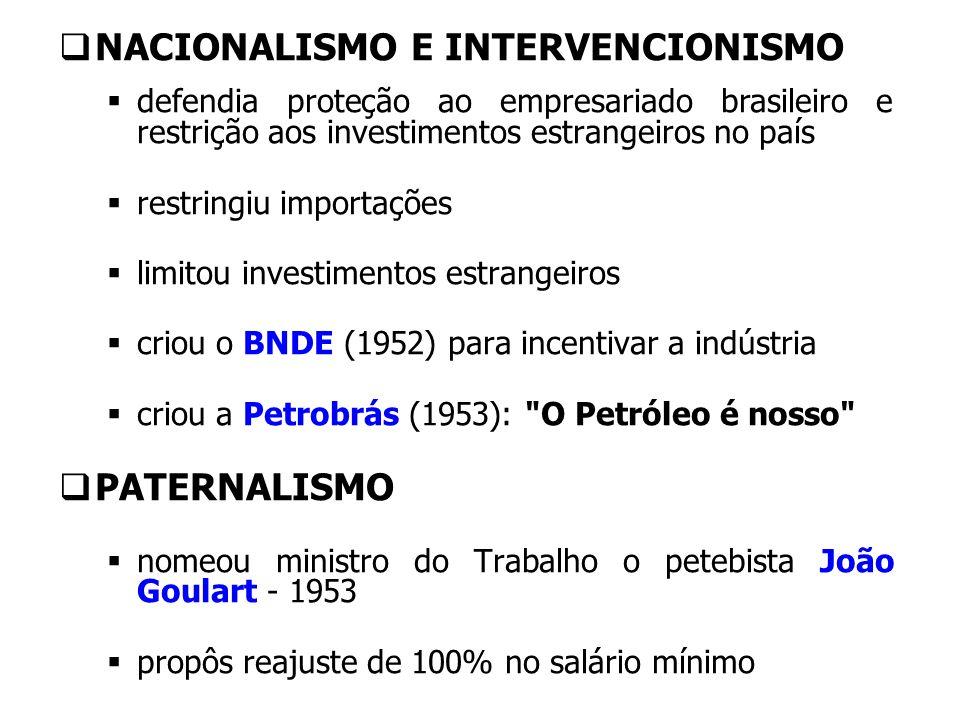 NACIONALISMO E INTERVENCIONISMO defendia proteção ao empresariado brasileiro e restrição aos investimentos estrangeiros no país restringiu importações