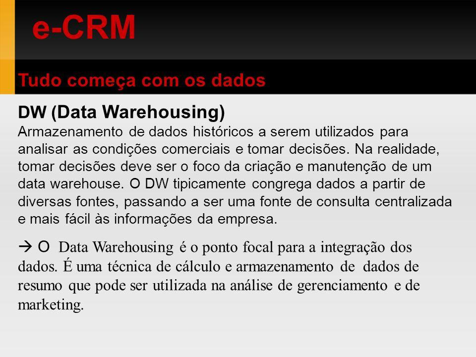e-CRM Tudo começa com os dados DW ( Data Warehousing) Armazenamento de dados históricos a serem utilizados para analisar as condições comerciais e tom